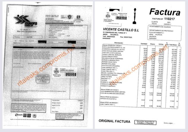 Dos de las facturas desveladas por Compromís.