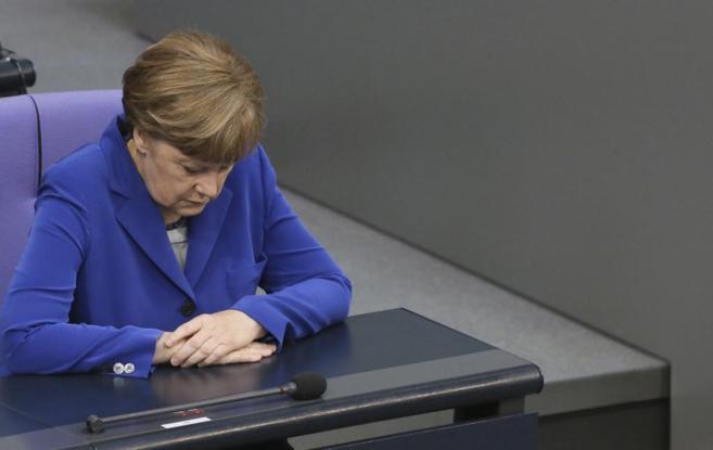 La canciller alemana, Angela Merkel, durante la simbólica sesión...