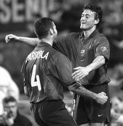 Luis Enrique y Guardiola, en su época común en el Barcelona.