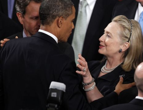 Hillary Clinton y Barack Obama.