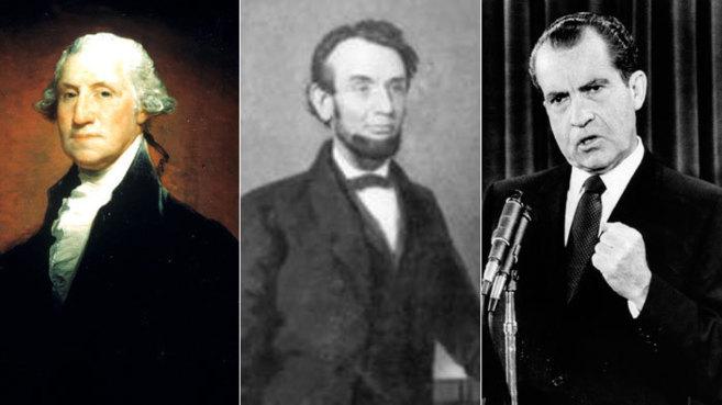 De izquierda a derecha: los presidentes, George Washington, Abraham...