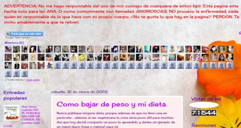 Captura de una de las numerosas webs que promueven la anorexia.