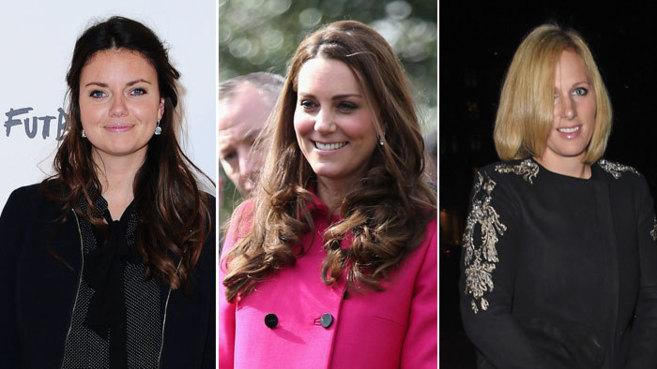 De izquierda a derecha, Natasha Rufus, Kate Middleton y Zara Tindall.