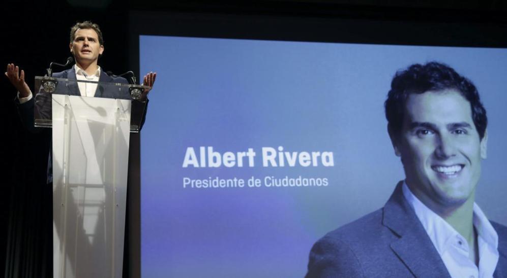 El presidente de Ciudadanos, Albert Rivera, durante la convención...