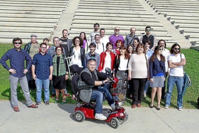 Miembros de las candidaturas de Podemos, el viernes en el anfiteatro...
