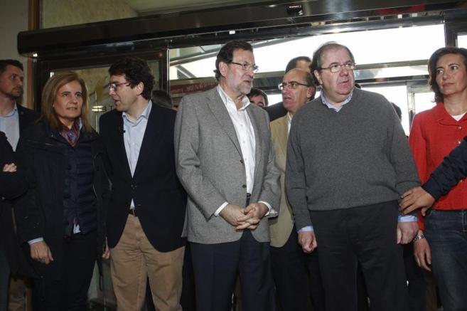 El presidente del PP y del Gobierno, Mariano Rajoy, hoy, en Salamanca.
