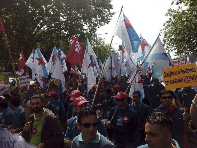 Protestas de los trabajadores en huelga de las subcontratas de...