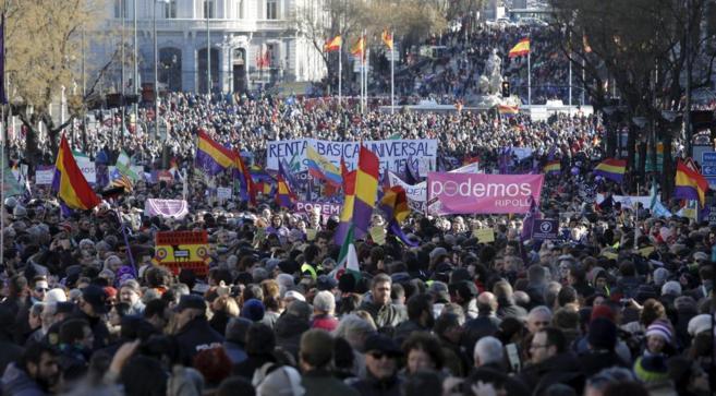 Manifestación convocada por Podemos el pasado 31 de enero en Madrid.