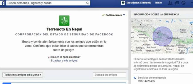 Captura de Safety Check, puesto en marcha por Facebook para localizar...