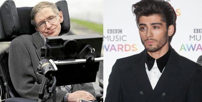 Stephen Hawking (izda.) y Zayn Malik, unidos por el universo.