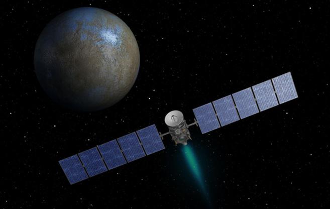 Recreación artística de la nave espacial Dawn de la NASA en...