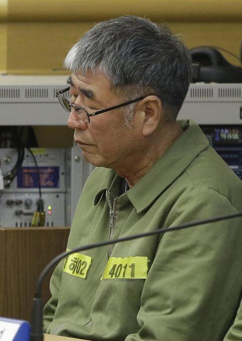 Lee Joon-seok, el capitán del Sewol, escucha el veredicto.
