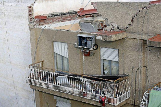 Aspecto que presentaba la última planta del edificio derrumbado en...