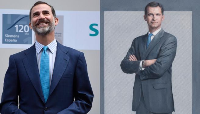 Imagen reciente del Rey Felipe VI (izquierda) y el retrato oficial...