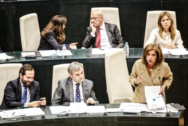 Ana Botella, alcaldesa de Madrid, en el último Pleno del Ayuntamiento...