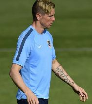 Fernando Torres durante un entrenamiento en Majadahonda.