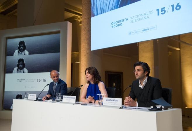 Alcaraz, Iglesias y Afkham durante la rueda de prensa en la sede de la...