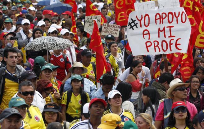 Protesta de docentes en Bogotá