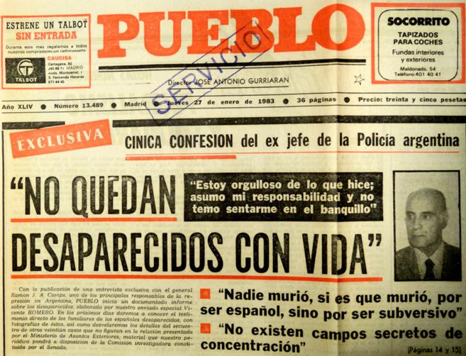 Recorte del diario 'Pueblo' con la entrevista a Camps.