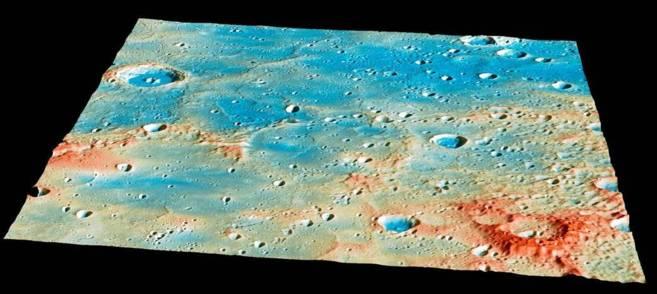 Detalle de la zona en la que impactará la sonda 'Messenger'