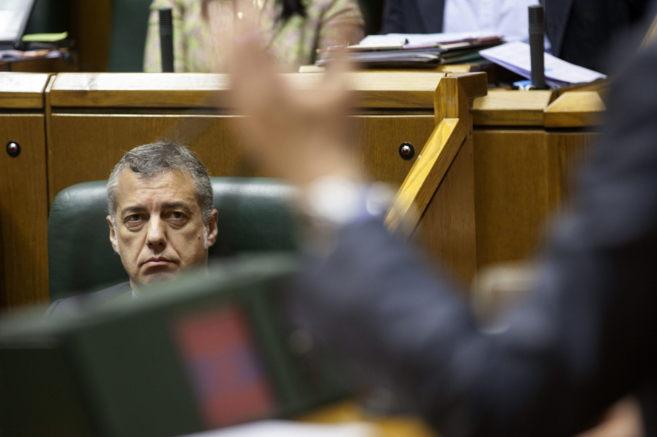El lehendakari, Iñigo Urkullu, durante el debate ayer en el Pleno del...
