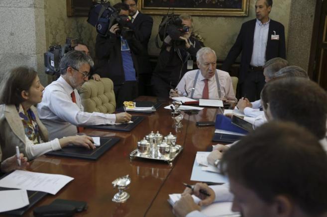 José Manuel García-Margallo, esta mañana en el ministerio.