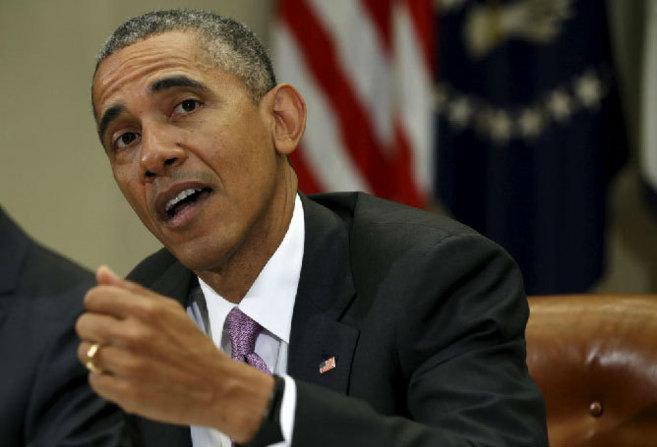 El presidente de EEUU, durante el encuentro con periodistas...