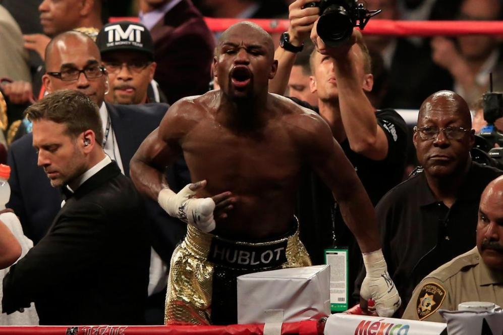 Mayweather Jr., al final del combate contra Manny Pacquiao.