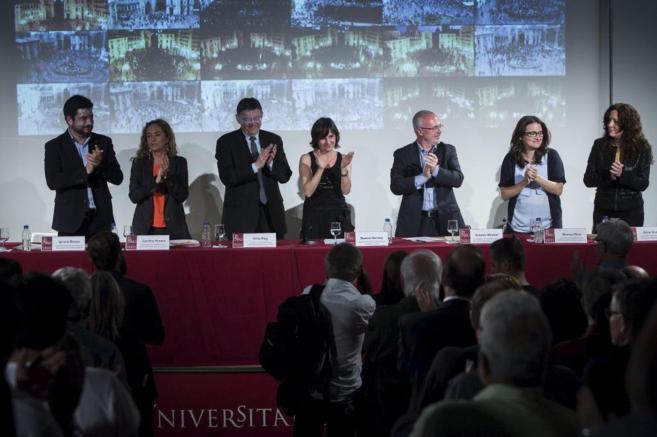 De izquierda a derecha, los firmantes: Ignacio Blanco, Carolina...