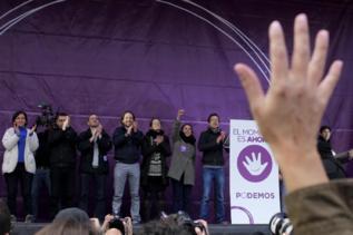 Los líderes de Podemos en la Marcha del Cambio del pasado 31 de enero...