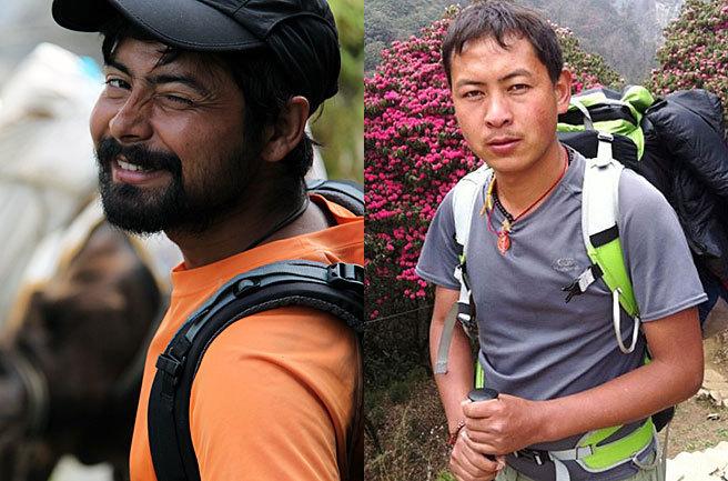 Mahesh (izquierda) y Singe, los dos guías desaparecidos con un grupo...