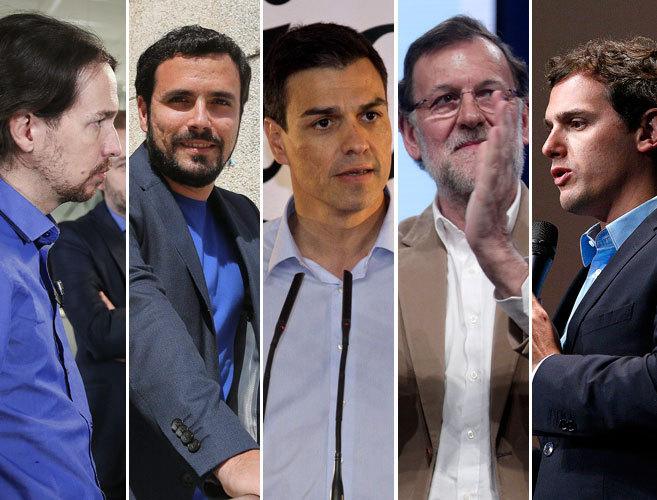 Pablo Iglesias (Podemos), Alberto Garzón (IU), Pedro Sánchez (PSOE),...