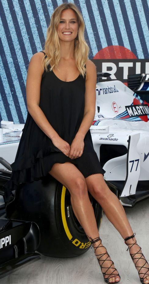 La modelo, durante su visita a Barcelona.