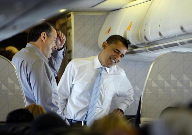 David Axelrod y Barack Obama, durante la campaña de las elecciones...