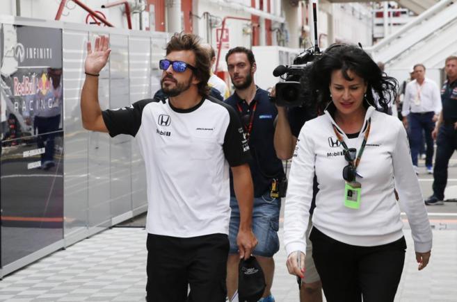 Fernando Alonso en el Circuito de Catalunya.