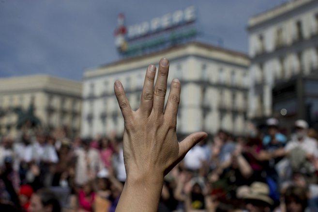 Concentración en la Puerta del Sol en el tercer aniversario del 15M.
