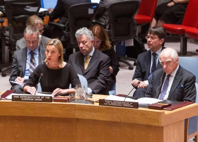 La Alta Representante de la UE Federica Mogherini durante su...