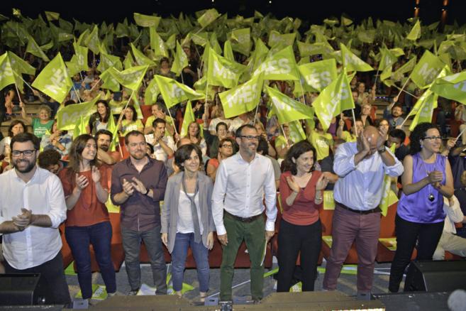 Los principales candidatos de la coalición Més per Mallorca, ayer,...