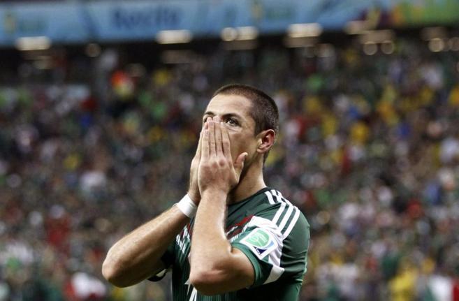 'Chicharito', durante un partido frente a Croacia del pasado...