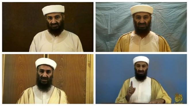 Combinación de imágenes del líder de Al Qaeda, Osama Bin...