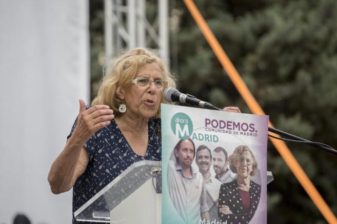 Manuela Carmena el miércoles en un acto de Ahora Podemos.