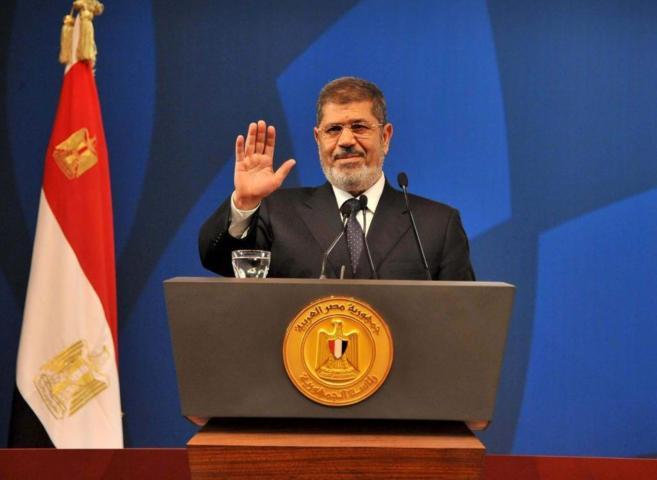 El derrocado Mursi pronunciando un discurso en 2013, en El Cairo.