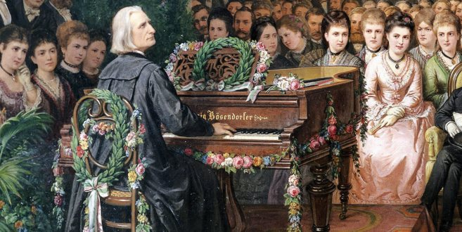 Franz Liszt (1811-1886) ante sus 'groupies'.