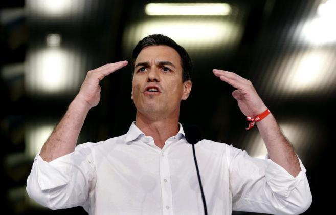 Pedro Sánchez durante el acto central de campaña del PSC en...