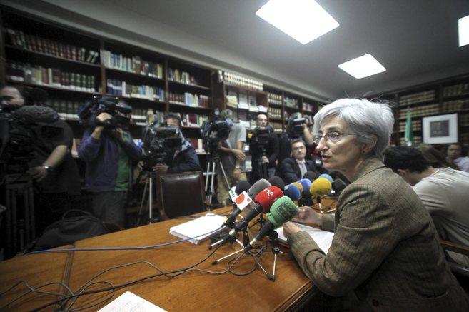 La fiscal jefe de Sevilla, María José Segarra, durante una rueda de...