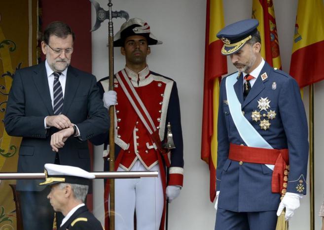 Mariano Rajoy y Felipe de Borbón en el desfile del 12 de octubre.