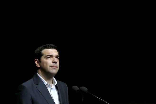 El primer ministro de Grecia, Alexis Tsipras, durante un discurso...
