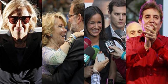 De izda. a dcha., Manuela Carmena, Esperanza Aguirre y Mariano Rajoy,...