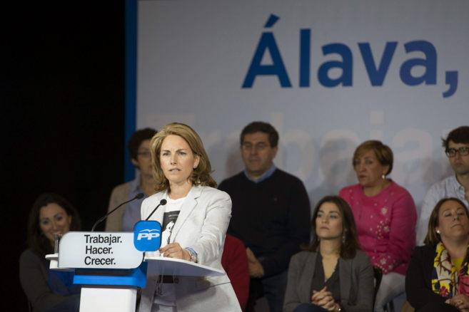 Arantza Quiroga durante el mitin de cierre de campaña.