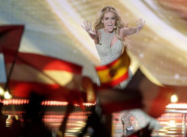 Banderas españolas en el Wiener Stadthalle de Viena, durante la...